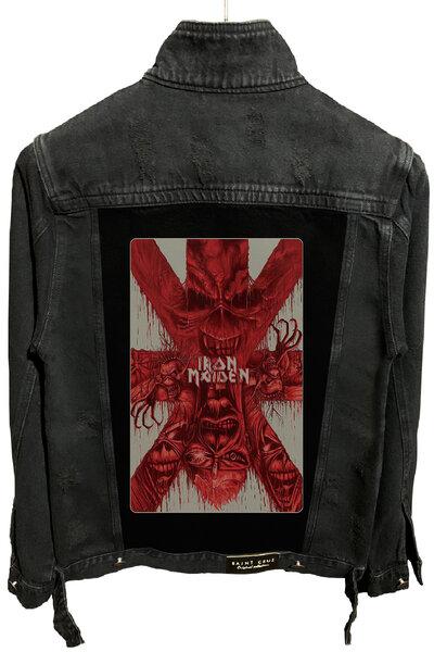 Jaqueta Jeans Destroyed Preta Iron Maiden