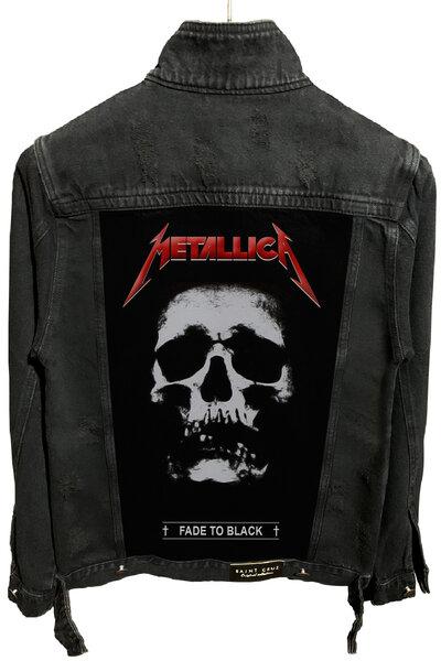 Jaqueta Jeans Rock Destroyed Preta Masculina Metallica