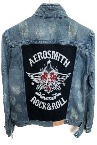 Jaqueta Jeans Destroyed Tradicional Masculina Aerosmith