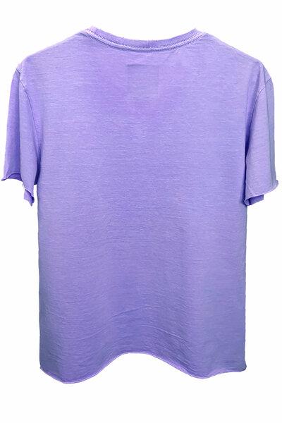 Camiseta estonada lilás Tell Me (Front)
