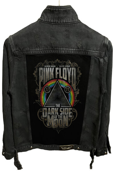 Jaqueta Jeans Destroyed Preta Masc. Pink Floyd Dark