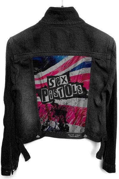 Jaqueta Jeans Rock Destroyed Preta Feminina S Pistols