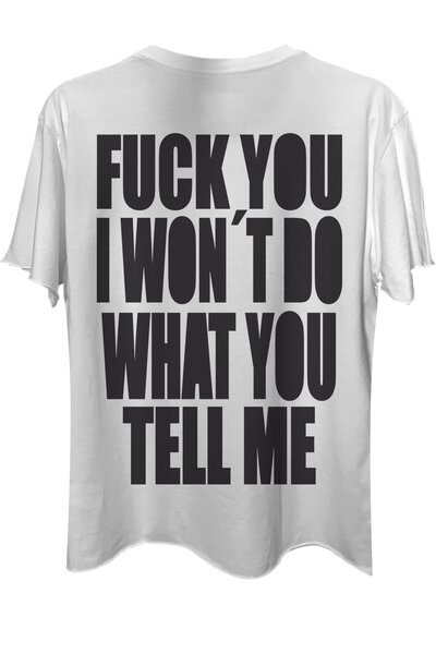 Camiseta com bolso branca Tell Me