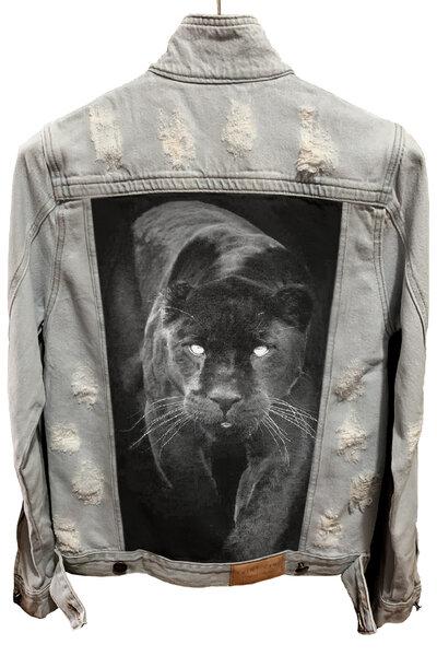 Jaqueta Jeans Destroyed Cru Masculina Panther