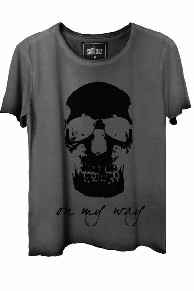 Camiseta estonada cinza On My Way (Front)