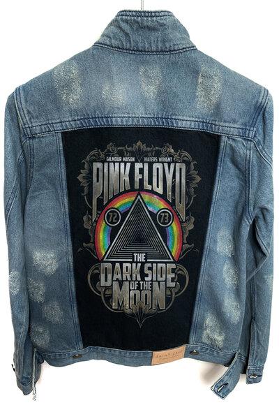 Jaqueta Jeans Destroyed Tradicional Masculina Pink Floyd Dark