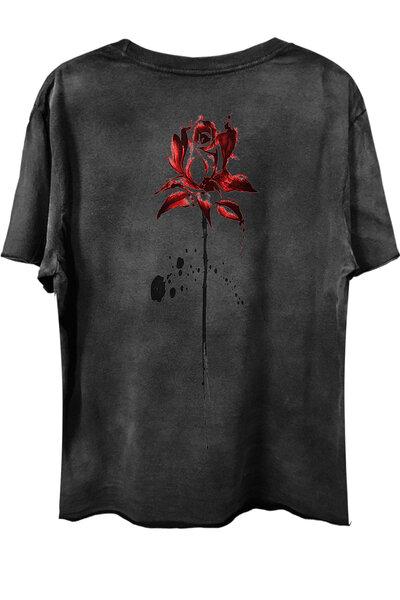 Camiseta com bolso preta Abstract Rose