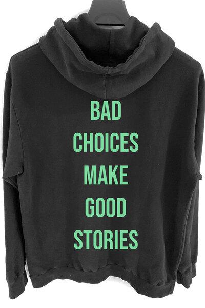 Blusa de moletom preto Bad Choices (Estampa verde água)