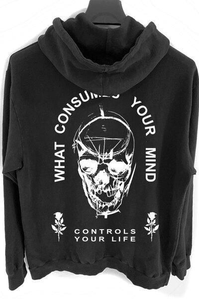 Blusa de moletom preto Controls (Estampa Branca)