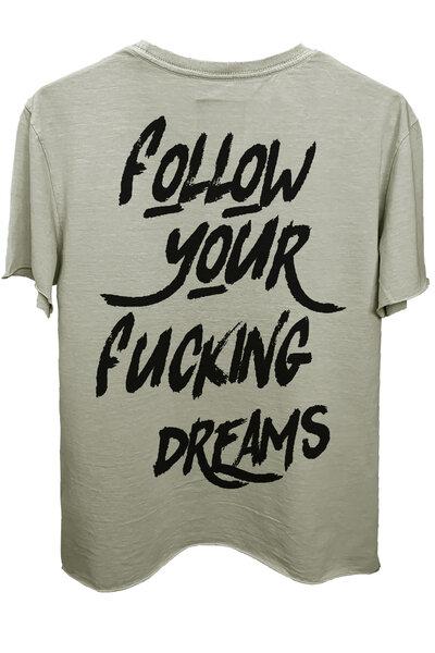 Camiseta estonada cinza clara Dreams (Back)