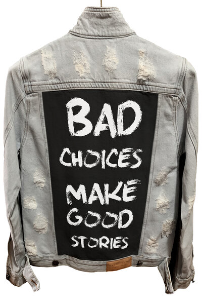 Jaqueta Jeans Destroyed Cru Masculina Bad Choices