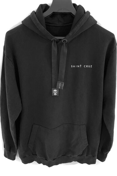 Blusa de moletom preto Basic (Estampa Branca)