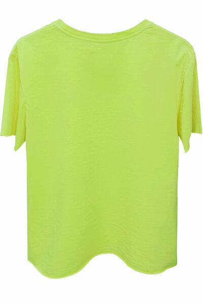 Camiseta estonada amarela Tell Me (Front)