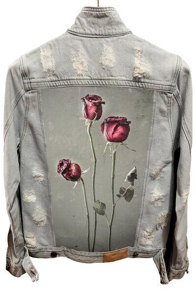 Jaqueta Jeans Destroyed Cru Masculina Flowers