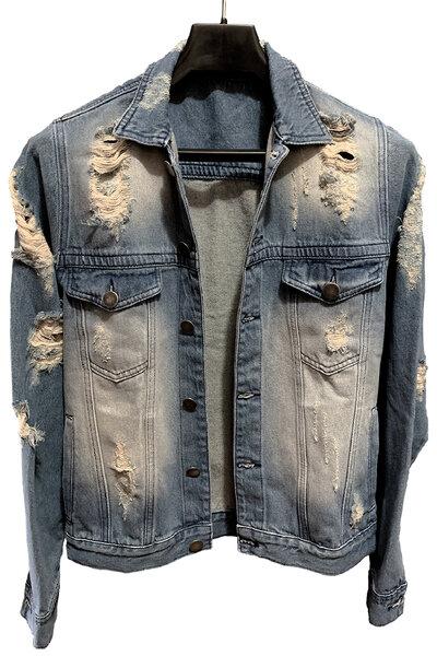 Jaqueta Jeans Destroyed Tradicional Pink Floyd