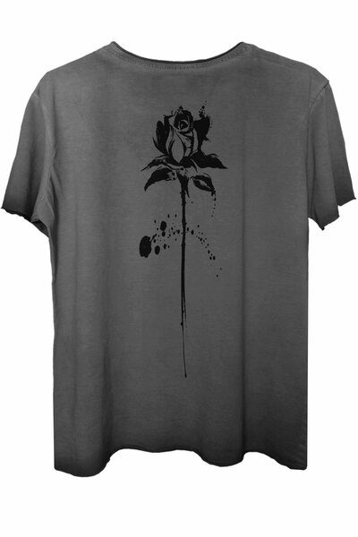 Camiseta estonada cinza Abstract Black Rose