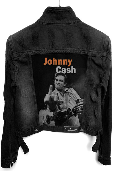 Jaqueta Jeans Rock Destroyed Preta Feminina Johnny Cash