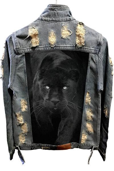 Jaqueta Jeans Destroyed Tradicional Panther