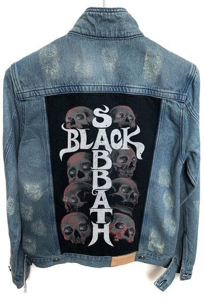 Jaqueta Jeans Destroyed Tradicional Masculina Black Sabbath Skull