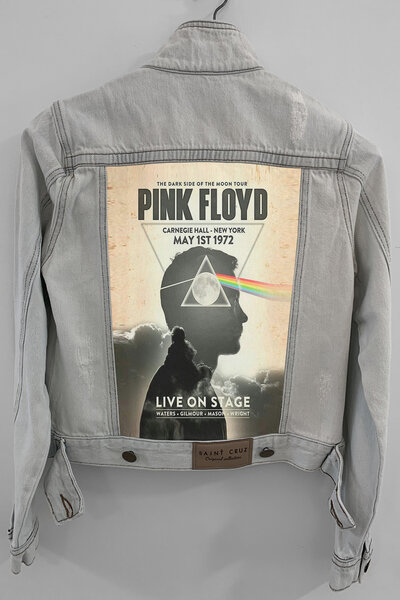 Jaqueta Jeans Rock Destroyed Cru Feminina Pink Floyd