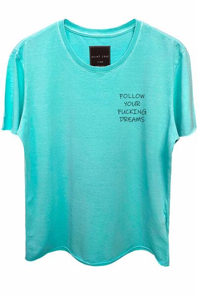Camiseta estonada azul água Dreams (Front)