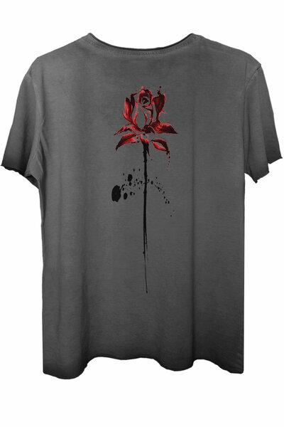 Camiseta estonada cinza Abstract Rose