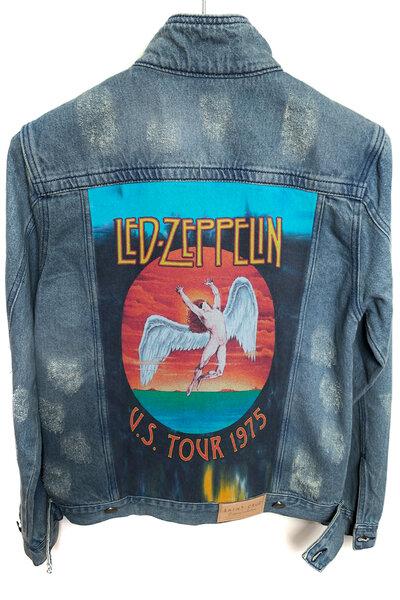 Jaqueta Jeans Rock Destroyed Tradicional Masc. Led Zeppelin Tour