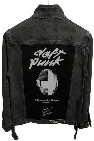 Jaqueta Jeans Destroyed Preta Masculina Daft Punk