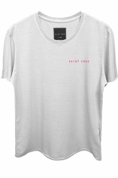 Camiseta branca Controls (Estampa magenta)