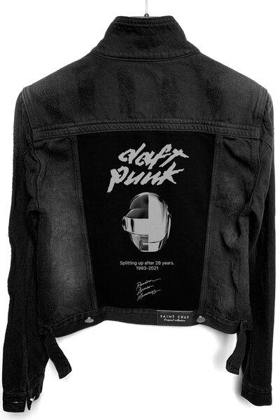 Jaqueta Jeans Destroyed Preta Feminina Daft Punk