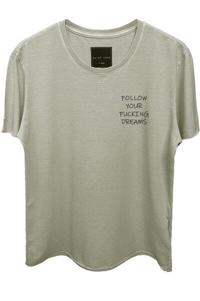 Camiseta estonada cinza clara Dreams (Front)