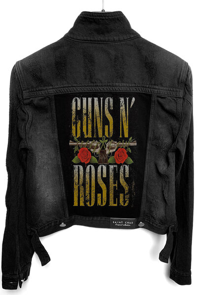 Jaqueta Jeans Destroyed Preta Feminina Guns and Roses