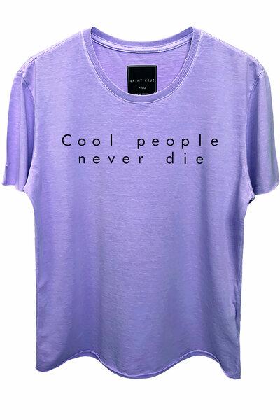 Camiseta estonada lilás Never Die