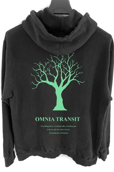 Blusa de moletom preto Omnia Transit (Estampa verde água)