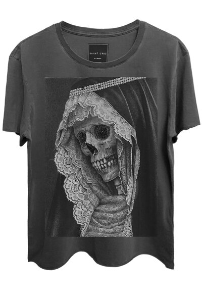 Camiseta estonada chumbo Madre Skull