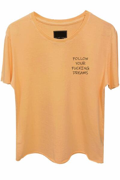 Camiseta estonada salmão Dreams (Front)