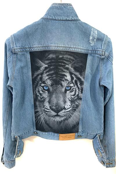 Jaqueta Jeans Destroyed Tradicional Feminina Tiger