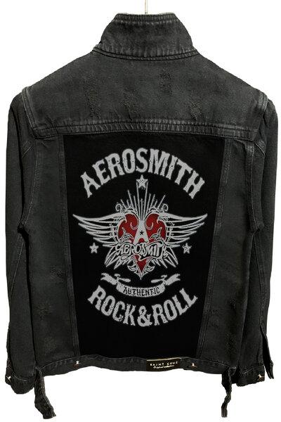 Jaqueta Jeans Rock Destroyed Preta Masculina Aerosmith
