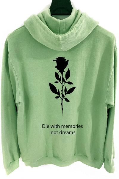 Blusa de moletom estonado verde Memories