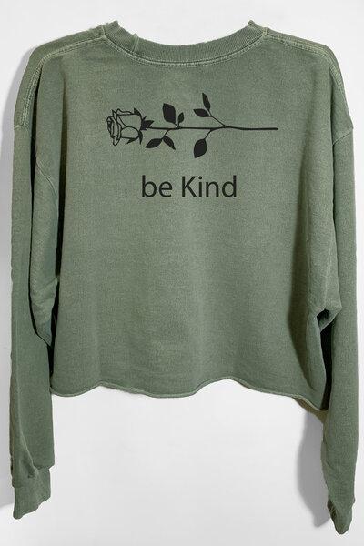 Cropped de moletom estonado verde Be Kind