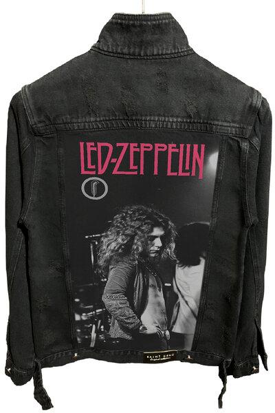Jaqueta Jeans Destroyed Preta Robert Plant
