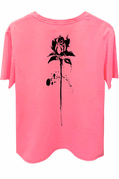 Camiseta estonada rosa Abstract Black Rose