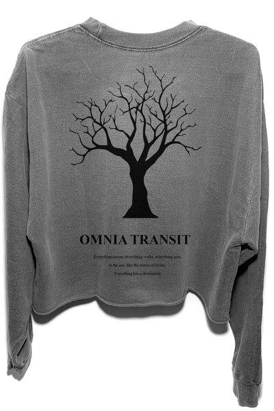 Cropped de moletom estonado chumbo Omnia Transit