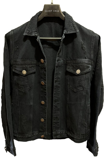 Jaqueta Jeans Destroyed Preta Masculina Pearl Jam