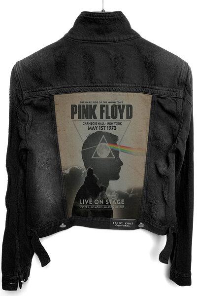 Jaqueta Jeans Rock Destroyed Preta Fem. Pink Floyd