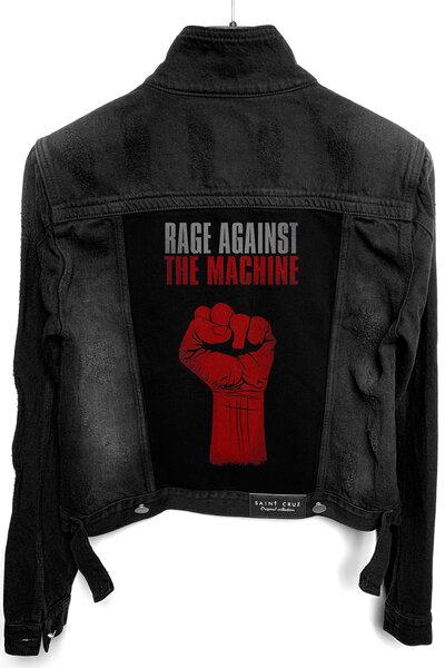 Jaqueta Jeans Rock Destroyed Preta Feminina Rage Against