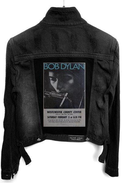 Jaqueta Jeans Destroyed Preta Feminina Bob Dylan