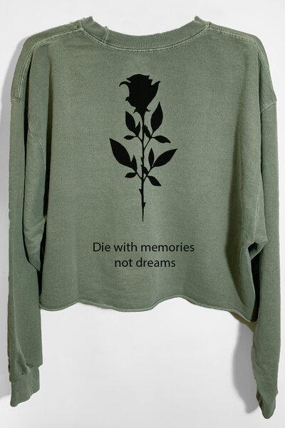 Cropped de moletom estonado verde Memories