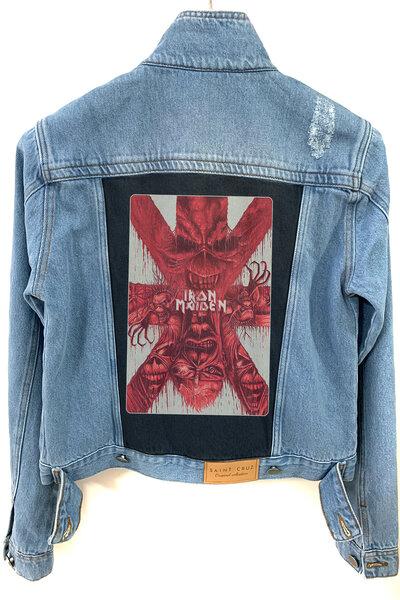 Jaqueta Jeans Destroyed Tradicional Feminina Iron Maiden