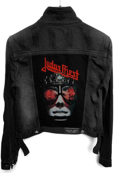 Jaqueta Jeans Rock Destroyed Preta Feminina Judas Priest